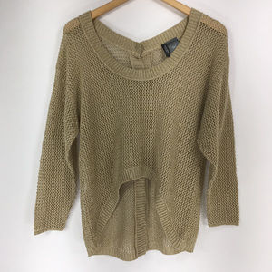 Bisou Bisou S Gold Open Knit Sweater Top